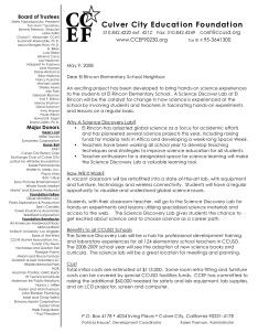 El Rincon Science Lab Letter